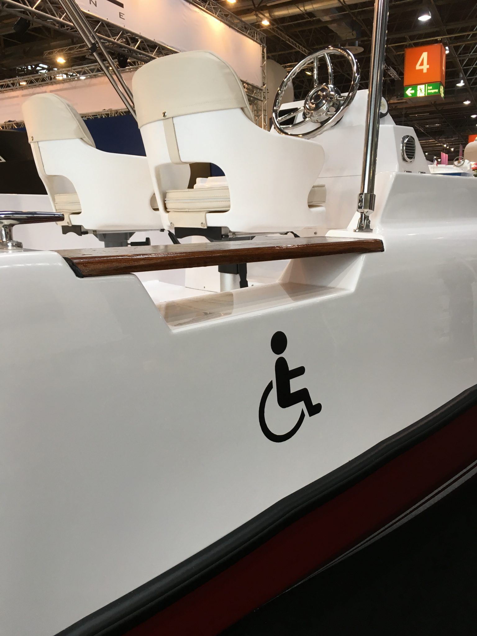A photograph of an Electric boat with Wheelchair Access