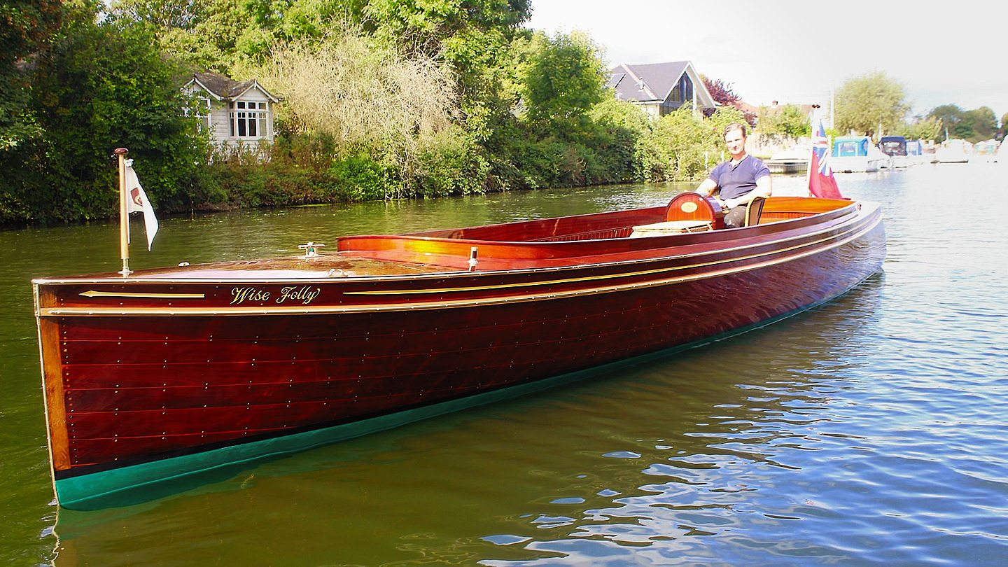 Wise Folly - A newly restored historic varnished mahogany launch