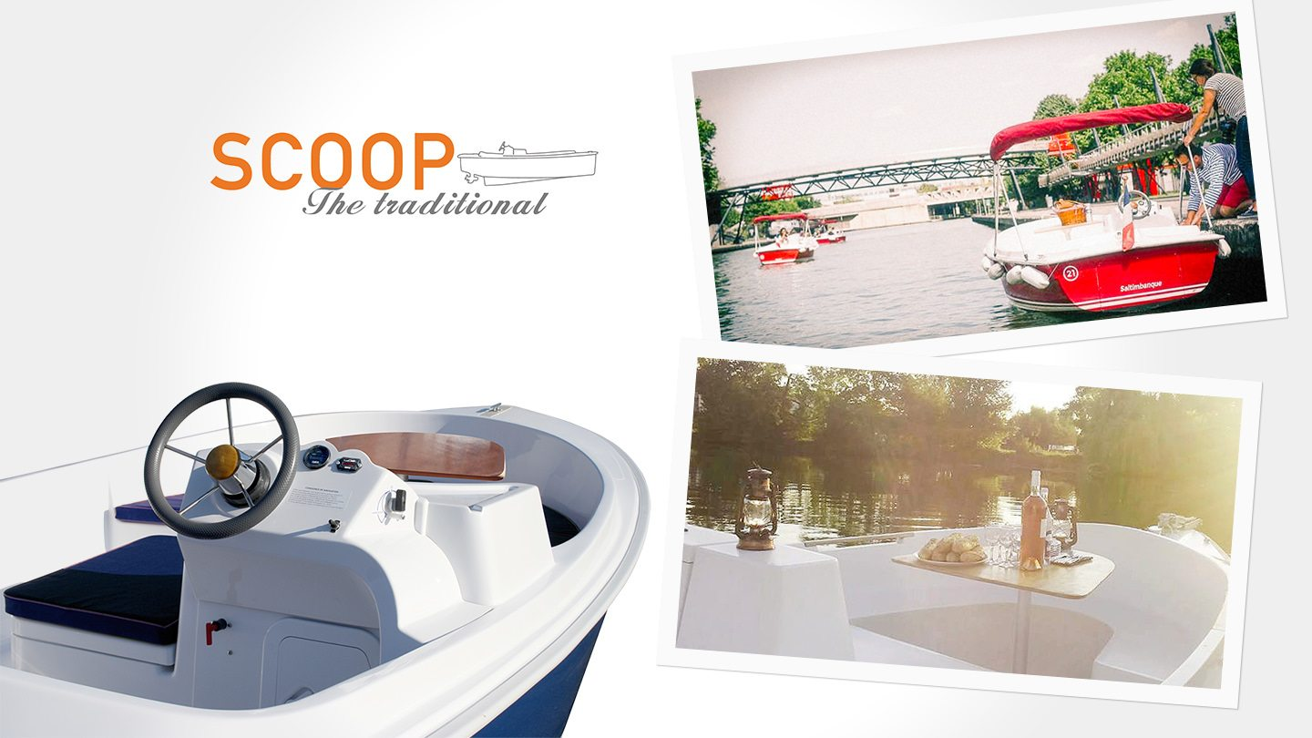 The SCOOP a fleet electric boat by Ruban Bleu