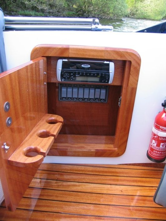 a photograph of a fuse box in the Electric Boat Caprice Classic