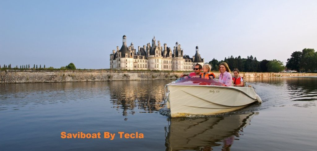 Electric boat in castle setting